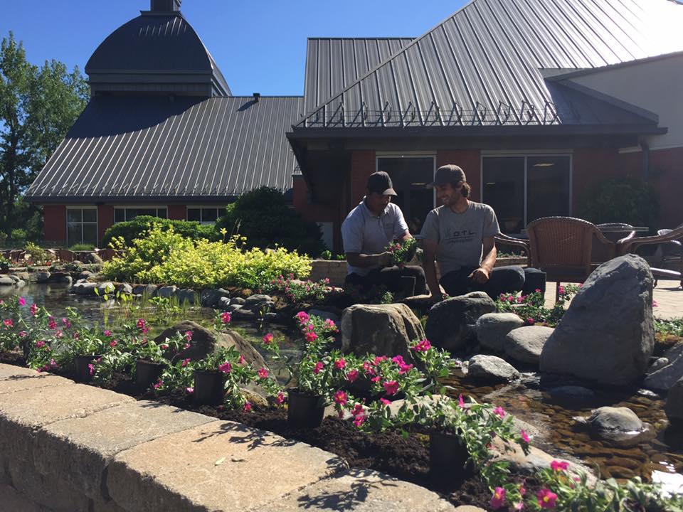 Ouvriers qui conçoivent un aménagement paysager avec eau et fleurs