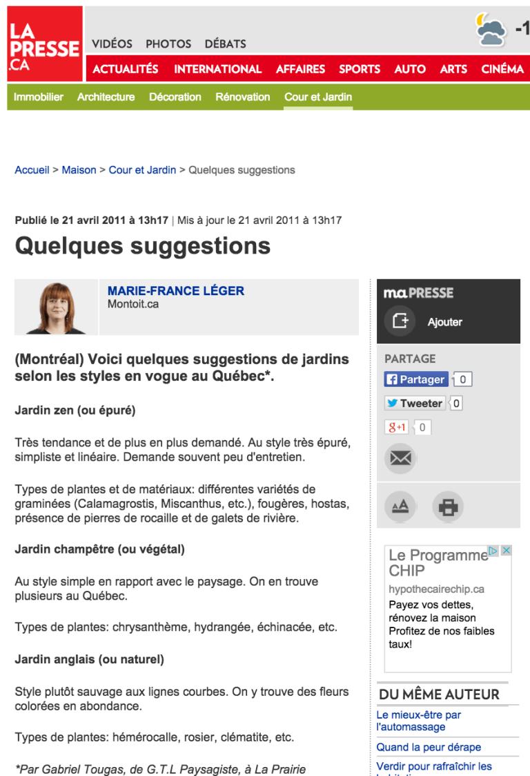 Capture d'écran d'un article de La Presse où G.T.L. Paysagiste a offert conseils