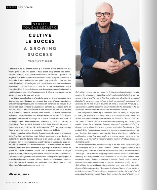 Article sur Gabriel Tougas-Leclerc dans Mixte Magazine